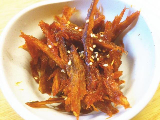 干し魚のピリ辛めんたい美味い!