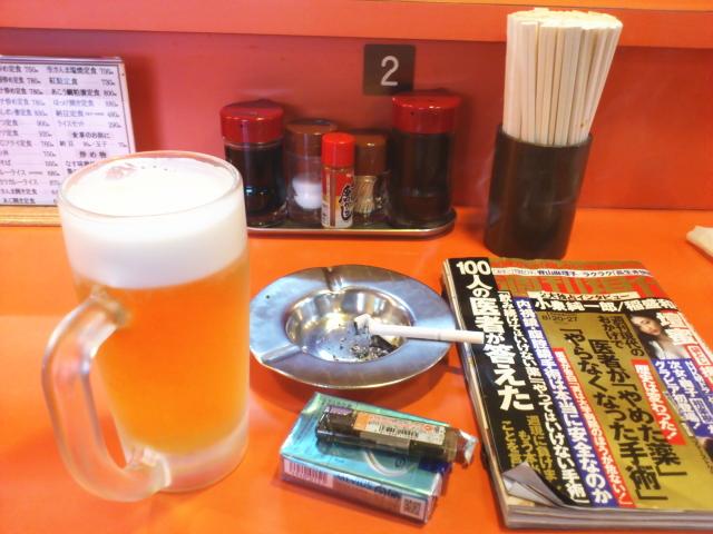 ちょっと上等やけど黒板の新潟産シャケ西京漬焼き定食1100円と生ビール570円注文。