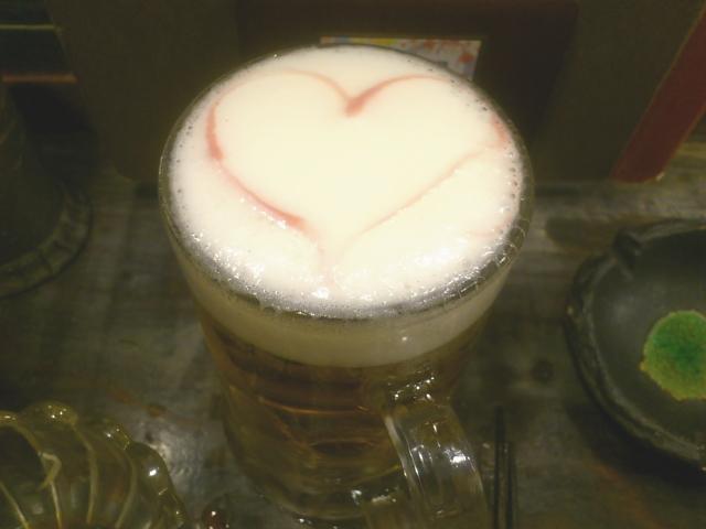 追加ビールにハートが。